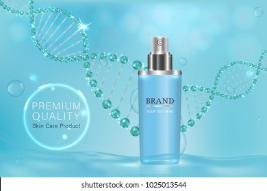 Blue cosmetic container with advertising background ready to use, luxury skin care ad. illustration vector.