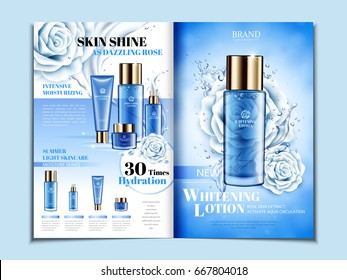 blue cosmetic themed bi fold brochure design with roses, can also be used on catalogs or magazines, 3d illustration