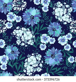 blue country floral ~ seamless background