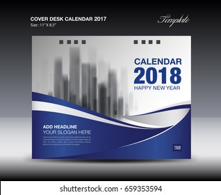 Blue Cover Desk Calendar 2018 Design, flyer template, ads, booklet, catalog, newsletter