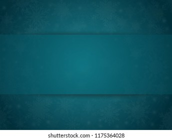 Blue Cover, Poster, Card, Banner or Background with Snowflakes. Design in Merry Christmas and Happy New Year Style with Winter Snow. Happy Holidays. Horizontal Format. Winter and Snow Background.
