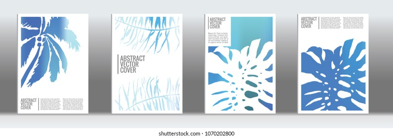 Blue cover set. Exotic flyer on light background.  Fluid poster design.  Brochure template design. Business backdrop. Stylish vector cover design.  Abstract gradient vintage texture.