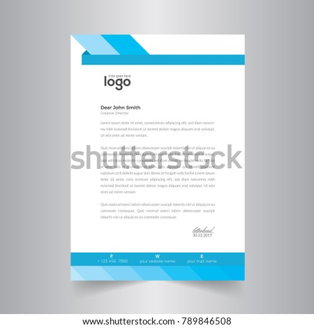 blue cover vector letter head design template