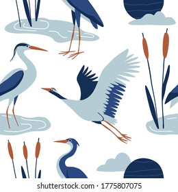 Blue crane seamless pattern. Traditional Japanese texture for textile, fabric, paper. Flat hand drawn modern simple birds, moon, clouds and water plants. Wildlife vector background