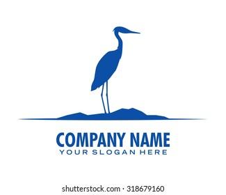 blue crane stork heron egret bird silhouette vector logo icon