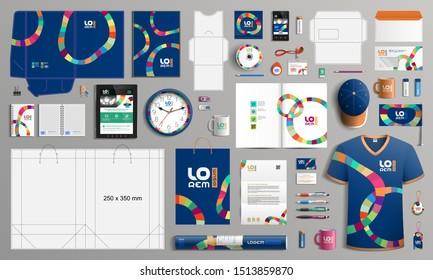 Blaues kreatives Corporate Identity Template-Design mit kunstfarbigen Rundstreifen. Bürobedarf
