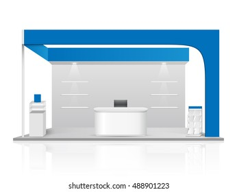 Blue creative exhibition stand design. Booth template. Corporate identity vector.