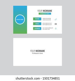 Blue Creative modern colorful visiting card Business Card id card Name card Print Template Flat Design Vector Illustration. Stationery Design for personal and business use - Vector