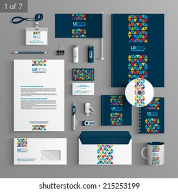Blue creative stationery template design with color triangles similar to stained glass. Documentation for business.