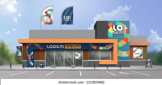 Blaues kreatives Ladendesign mit kunstfarbigen Rundstreifen. Elemente der Außenwerbung. Unternehmensidentität