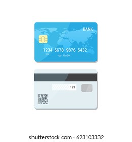 Blue Credit Card with both sides - vector isolated icon. Payment flat concept.