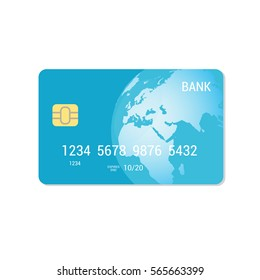 Blue Credit Card - vector isolated icon. Payment flat concept.