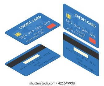 Blue credit cards. Isometric vector illustration