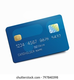 Blue credit debit card isolated on white background. Vector illustration.
