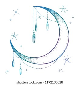 Blue crescent moon with moonstone gem pendants and stars vector illustration. Hand drawn boho style art print poster design, astrology, alchemy, magic symbol over white background