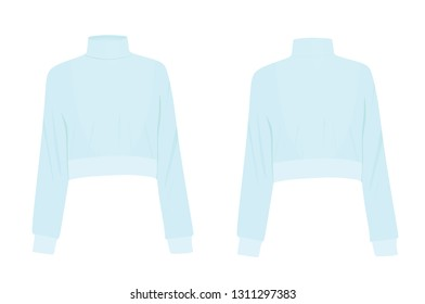Blue crop sweater. vector illustration