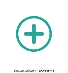 Blue cross in blue circle. Flat vector icon isolated on white.  Add or plus purchase pictogram.  Good for web and mobile design.