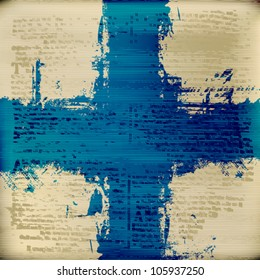 Blue Cross over grunged blurred antique text texture background
