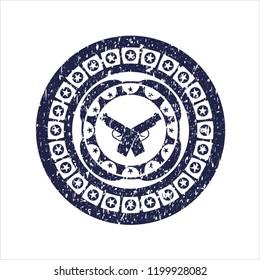 Blue crossed pistols icon inside distress rubber seal