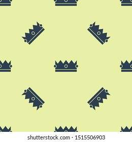 Blue Crown icon isolated seamless pattern on yellow background.  Vector Illustration