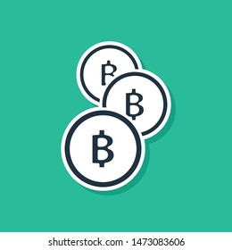 Blue Cryptocurrency coin Bitcoin icon isolated on green background. Physical bit coin. Blockchain based secure crypto currency.  Vector Illustration