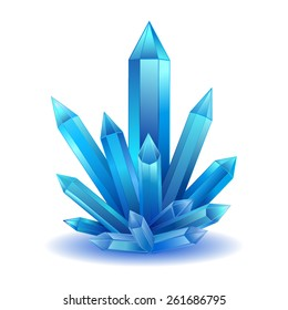 Blue Crystal stone isolated vector illustration. Bright crystal healing energy.