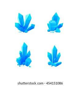 Blue crystals vector set