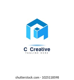 Blue Cubic alphabet company logo template with letter C. Modern 3d geometric font