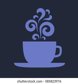 Blue cup with floral vintage design elements. EPS10 vector.