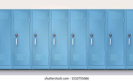 Blue cupboards with combination lock and handles. Welcome back to school. Set of realistic school locker, metal cabinets with closed doors. Vector template, 3d illustration