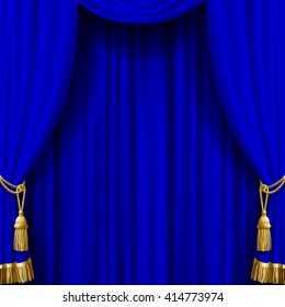 Blue curtain with gold tassels. Artistic poster and background. Vector illustration