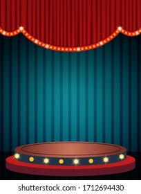 Blue curtain and stage podium on vintage background. Design for presentation, concert, show. Vector illustration