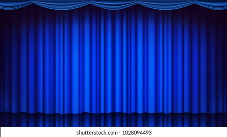 Blue Curtain Stage Vector. Theater, Opera Or Cinema Empty Blue Silk Curtain Stage, Club Comedy Scene. Realistic Drape Illustration