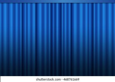 Blue curtain vector.