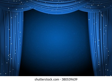 blue curtains on blue background with glittering stars. open curtains as theater or movie presentation or cinema award announcement with space for text. raster