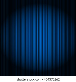 blue curtains on theater or cinema stage awards background