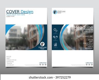 Blue curve annual report brochure flyer design template vector, Leaflet cover presentation abstract flat background, layout in A4 size