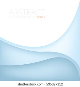 Blue curve background with line layer paper overlap with white space for add text and message , Vector
