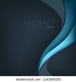 Blue curve line vector background overlap layer on blue dark space for text and background design