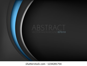 Blue curve line vector background overlap layer on black space with silver line and black space for text design