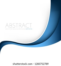 Blue curve line vector background overlap layer on white space for design