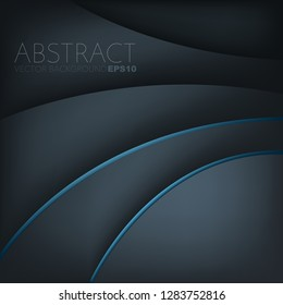 Blue curve line vector background dark element