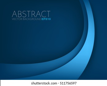 Blue curve line vector background with light on curve line and blue dark space for text and message artwork design