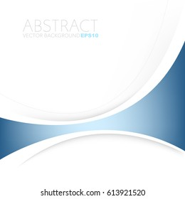 Blue curve line vector background with white space for text and message design