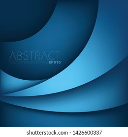 Blue curve overlap vector background with copy space for design