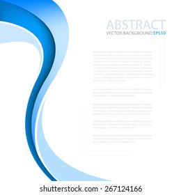 Blue curve wave line background on white space for text and message modern artwork design