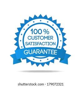 Blue customer service badge isolated