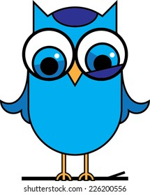 Blue Cute Cartoon Owl