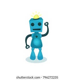 Blue cute and friendly robot, artificial intelligence cartoon vector Illustration