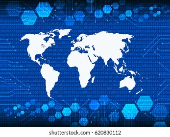 Blue Cyber Security world atlas map with drop shadow and digital matrix background